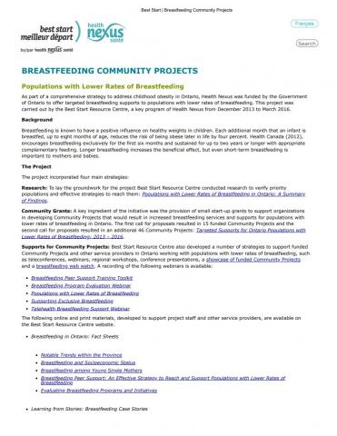 Best Start Community Breastfeeding Projects